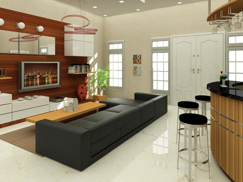 Living Room Bar Area Design Interior Modern House Thai Luxurious Home Part  57